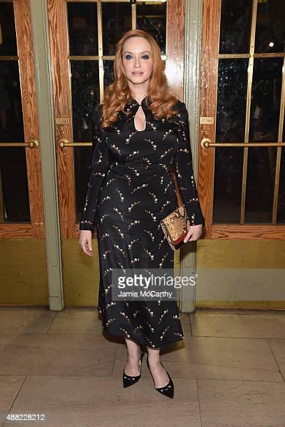 Christina Hendricks attends the Zac Posen Spring 2016 fashion show during New York Fashion Week at Vanderbilt Hall at Grand Central Terminal on...