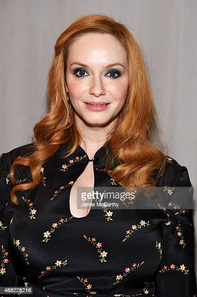 Christina Hendricks attends the Zac Posen Spring 2016 fashion show during New York Fashion Week at Vanderbilt Hall at Grand Central Terminal on...