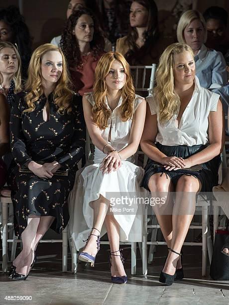 Christina Hendricks, Bella Thorne and Amy Schumer attend the Zac Posen Spring 2016 fashion show during New York Fashion Week at Vanderbilt Hall at...