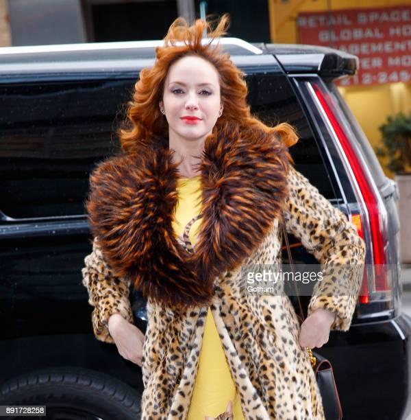 Christina Hendricks hair blows up in the wind on December 13 2017 in New York City
