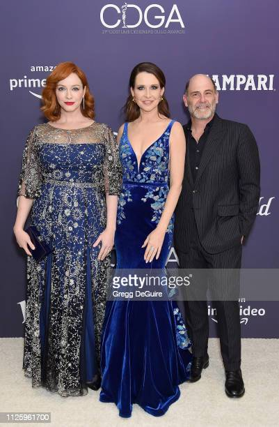Christina Hendricks Janie Bryant and Matt Weiner arrive at the 21st CDGA at The Beverly Hilton Hotel on February 19 2019 in Beverly Hills California