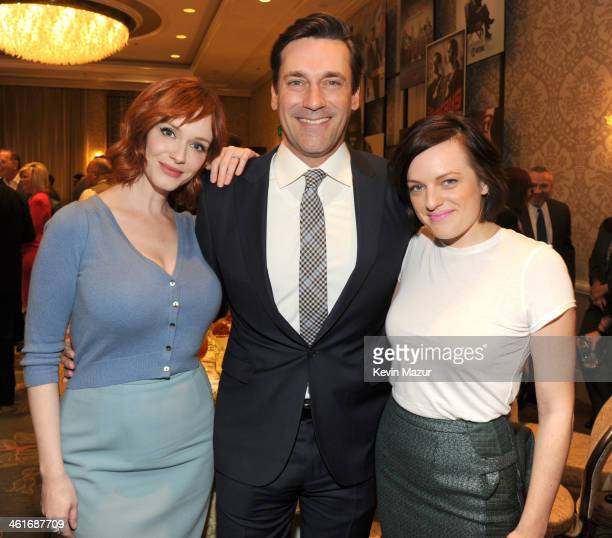 Christina Hendricks Jon Hamm and Elizabeth Moss attend the 14th annual AFI Awards Luncheon at the Four Seasons Hotel Beverly Hills on January 10 2014...
