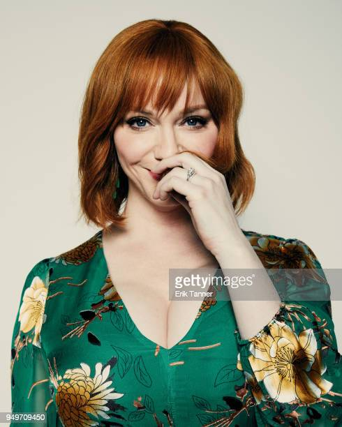 Christina Hendricks of the film Egg poses for a portrait during the 2018 Tribeca Film Festival at Spring Studio on April 21 2018 in New York City