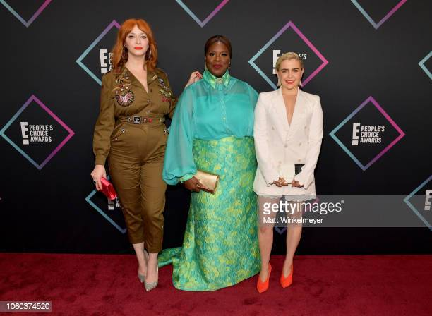 Christina Hendricks Retta and Mae Whitman attend the People's Choice Awards 2018 at Barker Hangar on November 11 2018 in Santa Monica California