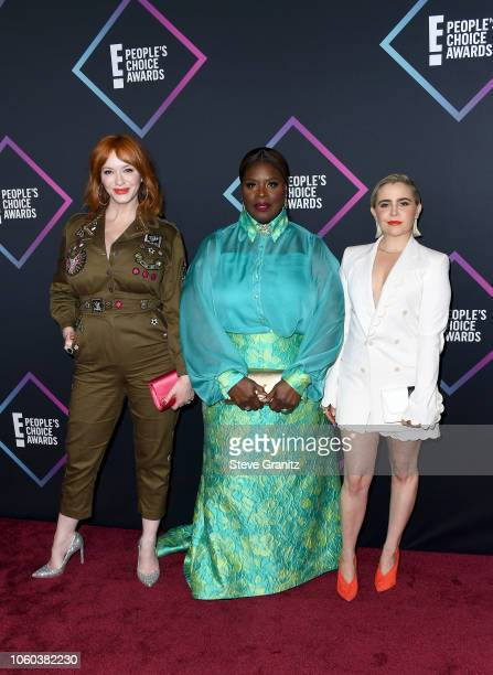 Christina Hendricks Retta and Mae Whitman attends the People's Choice Awards 2018 at Barker Hangar on November 11 2018 in Santa Monica California