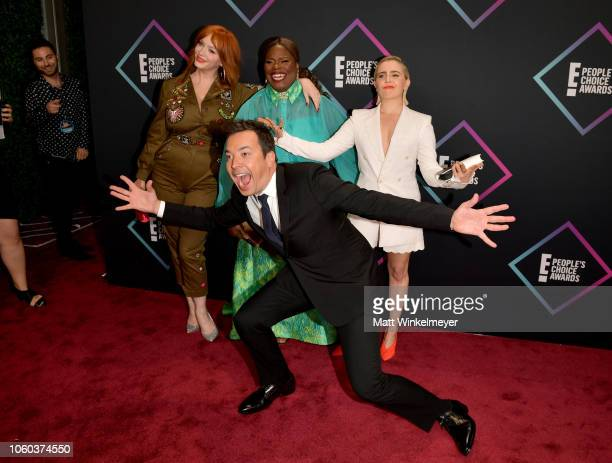 Christina Hendricks Retta Mae Whitman and Jimmy Fallon attend the People's Choice Awards 2018 at Barker Hangar on November 11 2018 in Santa Monica...