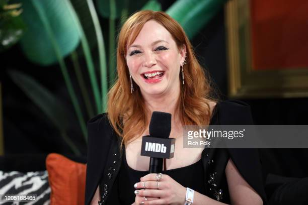 Christina Hendricks speaks onstage at IMDb LIVE Presented By MM'S At The Elton John AIDS Foundation Academy Awards Viewing Party on February 09 2020...