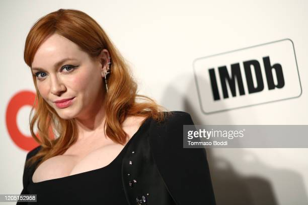 Christina Hendricks walks the red carpet at the Elton John AIDS Foundation Academy Awards Viewing Party on February 09 2020 in Los Angeles California