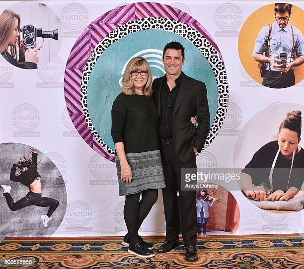 Christina Jennings and Yannick Bisson attend the Ovation 2016 Winter TCA Tour introducing three series featuring Rachel Hunter Reza Aslan Norman Lear...