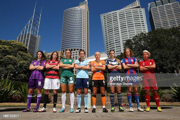 Christina Julien of the Glory Heather Garriock of the Wanderers Stephanie Ochs of Canberra Chloe Logarzo of Sydney Tameka Butt of the Roar Steph...