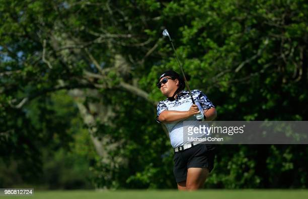 Christina Kim hits a shot during the first round of the ShopRite LPGA Classic Presented by Acer on the Bay Course at Stockton Seaview Hotel and Golf...
