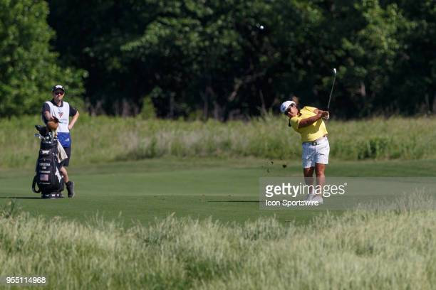 Christina Kim hits her approach shot to during the LPGA Volunteers of America Texas Classic on May 5 2018 at the Old American Golf Club in The Colony...