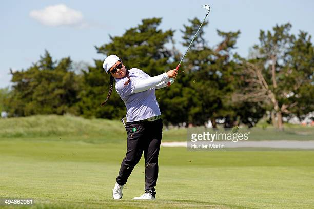 Christina Kim hits her second shot on the fourth hole during the second round of the ShopRite LPGA Classic presented by Acer on the Bay Course at the...