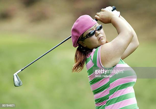 Christina Kim hits her tee shot on the eighth hole during the first round of the ChickfilA Charity Championship at Eagle's Landing Country Club on...