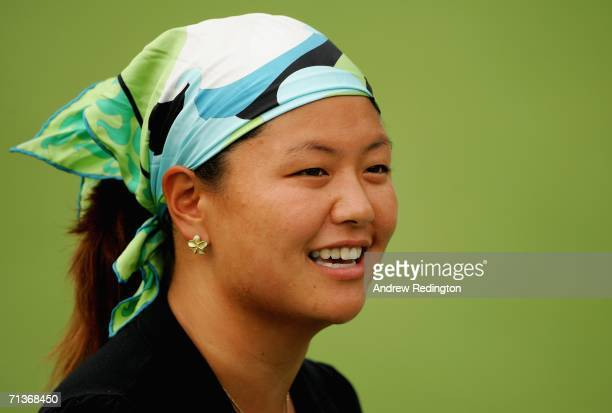 Christina Kim of USA smiles during practice for The HSBC Women's World Match Play Championship on The Highlands Course at Hamilton Farm Golf Club on...
