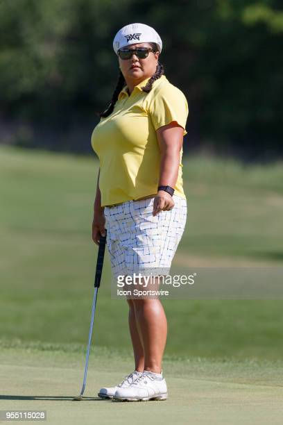 Christina Kim reacts after hitting her putt on during the LPGA Volunteers of America Texas Classic on May 5 2018 at the Old American Golf Club in The...