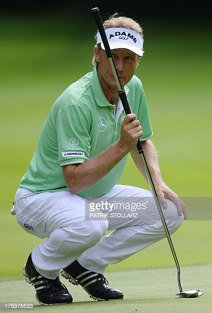 Christina Langer lines up a putt on the green during the second round of the Berenberg Bank Masters Cologne European Senior Tour at the Golf and...