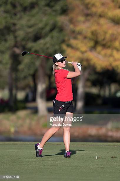 Christina Langer of Germany hits a shot on the 18th fairway during the first round of the PNC Father/Son Challenge at The RitzCarlton Golf Club on...