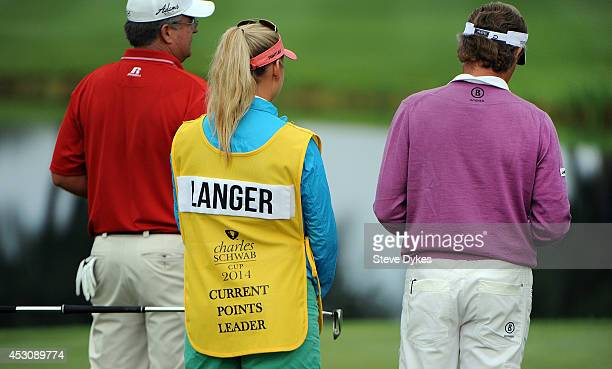 Christina Langer wears the Charles Schwab yellow bib indicating that her father Bernhard Langer of Germany is the current points leader as they stand...
