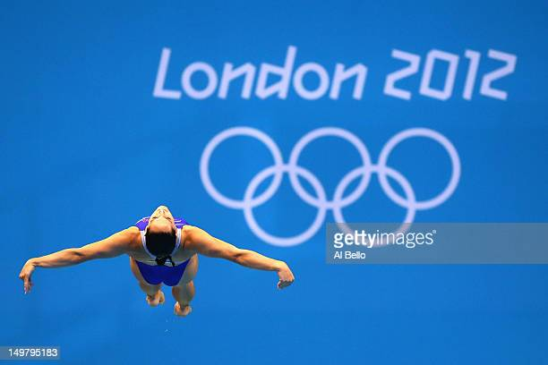 Christina Loukas of the United States competes in the Women's 3m Springboard Diving Semifinal on Day 8 of the London 2012 Olympic Games at the...