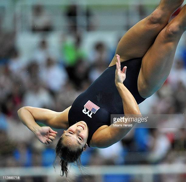 Christina Loukas of the United States competes in the women's 3meter springboard semifinals on Saturday August 16 in the Games of the XXIX Olympiad...