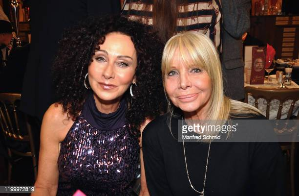 Christina Lugner and Christine Schuberth pose during the birthday party of paintress Dina Larot at Marchfelderhof on February 10 2020 in Deutsch...