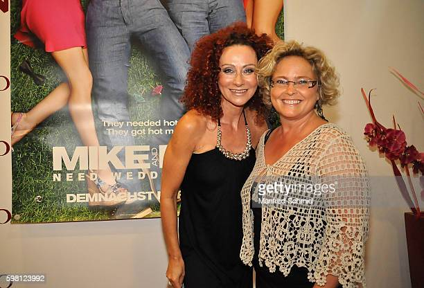 Christina Lugner and Claudia BandionOrtner pose during the premiere for the film 'Mike Dave Need Wedding Dates' at Lugner Lounge Kino on August 31...