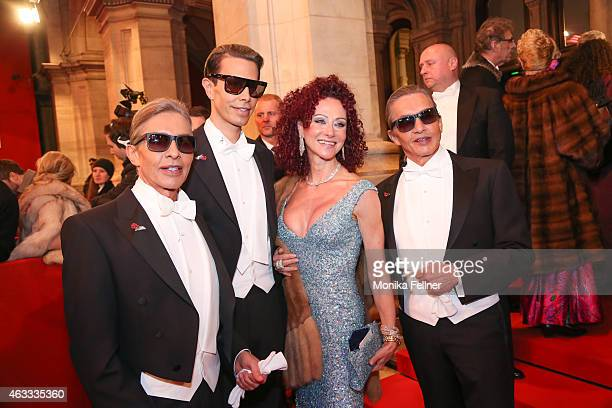Christina Lugner and the Botox Boys Arnold Oskar and Florian Wess attend the traditional Opera Ball Vienna at State Opera Vienna on February 12 2015...
