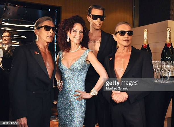 Christina Lugner and the Botox Boys Arnold Oskar and Florian Wess attend the Champagne And Oyster reception ahead of the Opernball at Le Meridien...