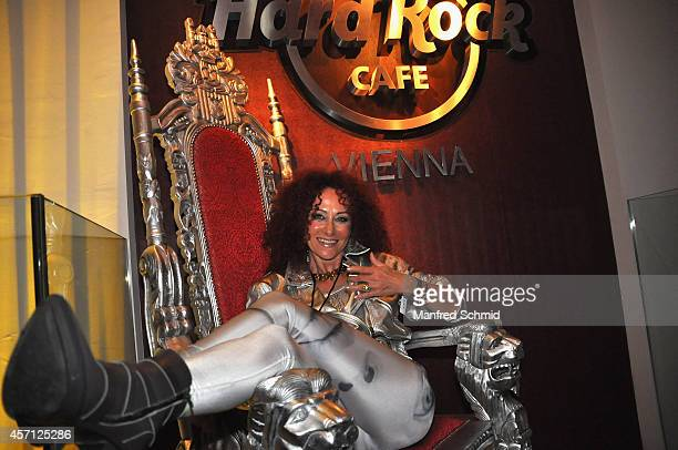 Christina Lugner poses for a photograph during the Hard Rock Cafe Vienna grand opening party on October 11 2014 in Vienna Austria