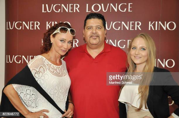 Christina Lugner Tony Wegas and Jacqueline Lugner pose during the 'Wish Upon' premiere in Vienna at Lugner Lounge Kino on July 25 2017 in Vienna...