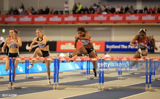 Christina Manning and Sharika Nelvis of USA finish first and second in the womens 60m hurdles final during the Muller Indoor Grand Prix event on the...