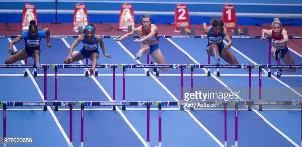 Christina Manning Kendra Harrison of the USA Nadine Visser of the Netherlands Sharika Nelvis of the USA Isabelle Pedersen of Norway and Oluwatobiloba...