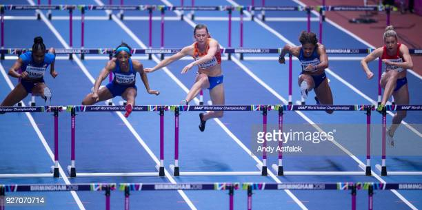 Christina Manning Kendra Harrison of the USA Nadine Visser of the Netherlands Sharika Nelvis of the USA and Isabelle Pedersen of Norway during the...