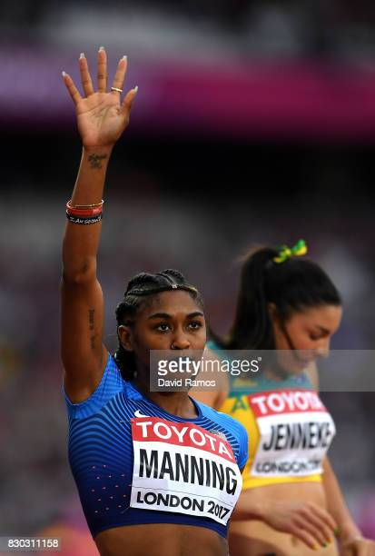 Christina Manning of the United States acknowledges the crowd prior to her heat in the Women's 100 metres hurdles semi finals during day eight of the...