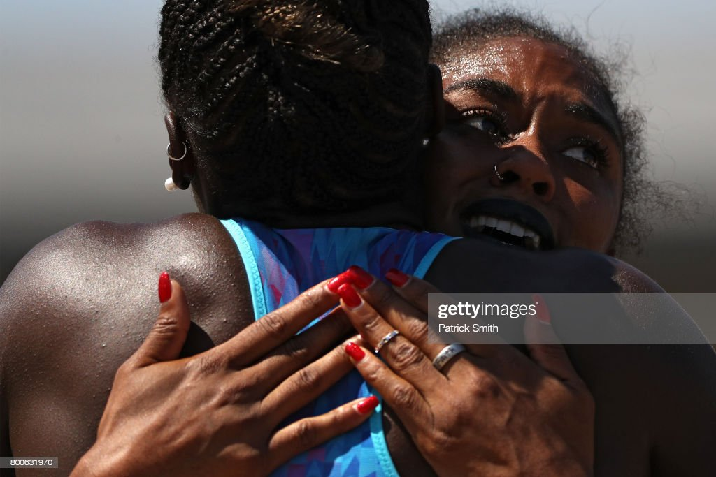 Christina Manning reacts after the Women's 100m Hurdles Final during Day 3 of the 2017 USA Track & Field Outdoor Championships at Hornet Stadium on June 24, 2017 in Sacramento, California.