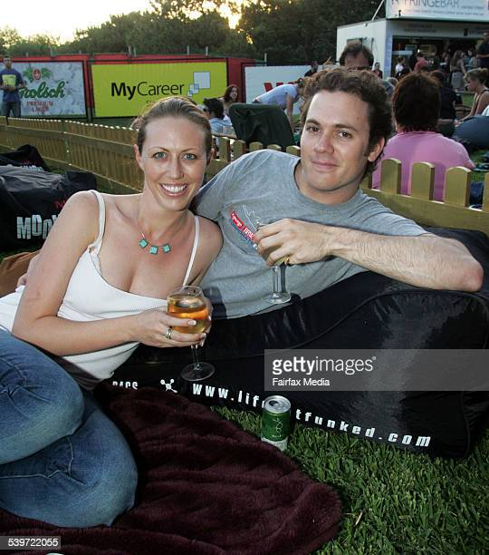Christina McCombie and Luke Janssen at the Moonlight Cinema launch in Centennial Park 8 December 2005 SHD Picture by STEVE LUNAM