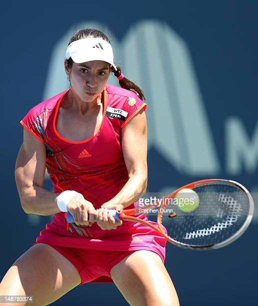 Christina McHale hits a return to Misaki Doi of Japan during day six of the Mercury Insurance Open Presented By TriCity Medical at La Costa Resort...