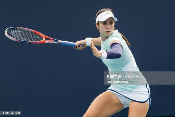 Christina McHale in action during the Miami Open on March 18, 2019 at Hard Rock Stadium in Miami Gardens, FL.