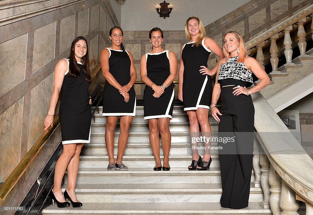 Christina McHale, Madison Keys, Mary Joe Fernandez, Coco Vandeweghe and Bethanie Mattek-Sands pose for a photo during the Fed Cup Official Dinner on April 14, 2016 in Brisbane, Australia.