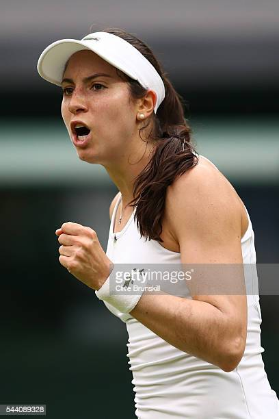 Christina McHale of the United States celebrates during the Ladies Singles second round match against Serena Williams of The United States on day...
