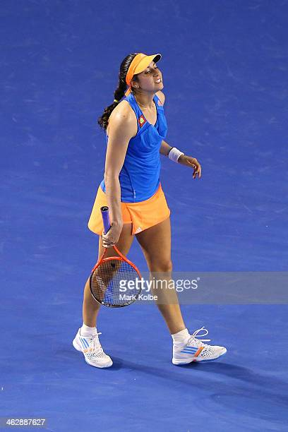 Christina McHale of the United States looks on in her second round match against Caroline Wozniacki of Denmark during day four of the 2014 Australian...