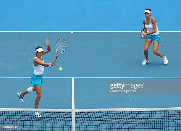 Christina McHale of the United States of America plays a backhand in her junior girls doubles final match with Ajla Tomljanovic of Croatia against...