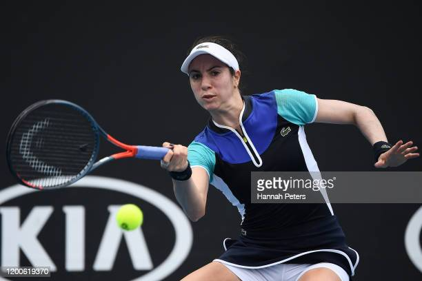 Christina McHale of the United States of America plays a forehand during her Women's Singles first round match against Petra Martic of Croatia on day...