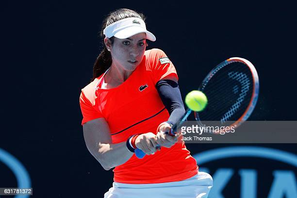 Christina McHale of the United States plays a backhand in her first round match against Kristina Kucova of Slovakia on day one of the 2017 Australian...