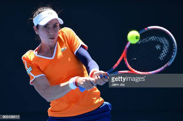Christina McHale of the United States plays a backhand in her first round match against Aliaksandra Sasnovich of Belarus on day two of the 2018...