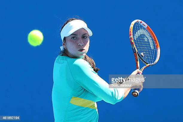 Christina McHale of the United States plays a backhand in her second round match against Carina Witthoeft of Germany during day three of the 2015...