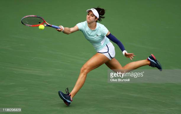 Christina McHale of the United States plays a forehand against Venus Williams of the United States during their women's singles third round match on...