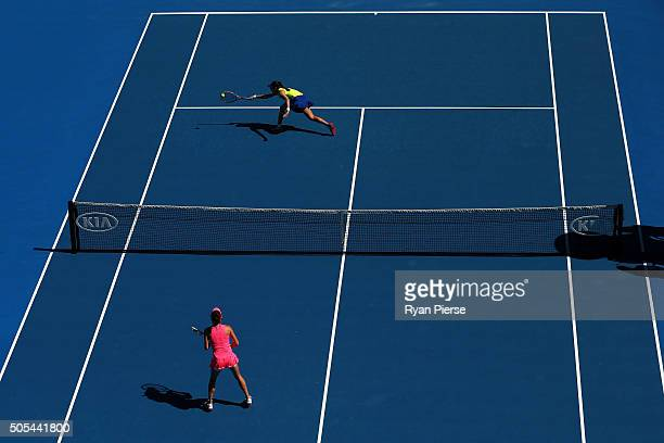 Christina McHale of the United States plays a forehand in her first round match against Agnieszka Radwanska of Poland during day one of the 2016...