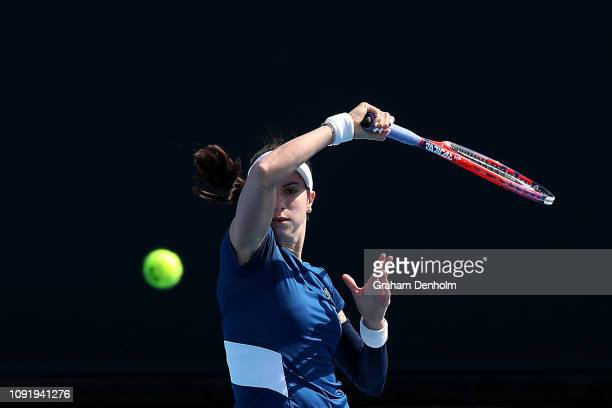 Christina McHale of the United States plays a forehand in her match against Sofya Zhuk of Russia during day three of Qualifying ahead of the 219...